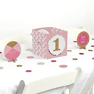 Fun to be One - 1st Birthday Girl - Birthday Party Centerpiece & Table Decoration Kit