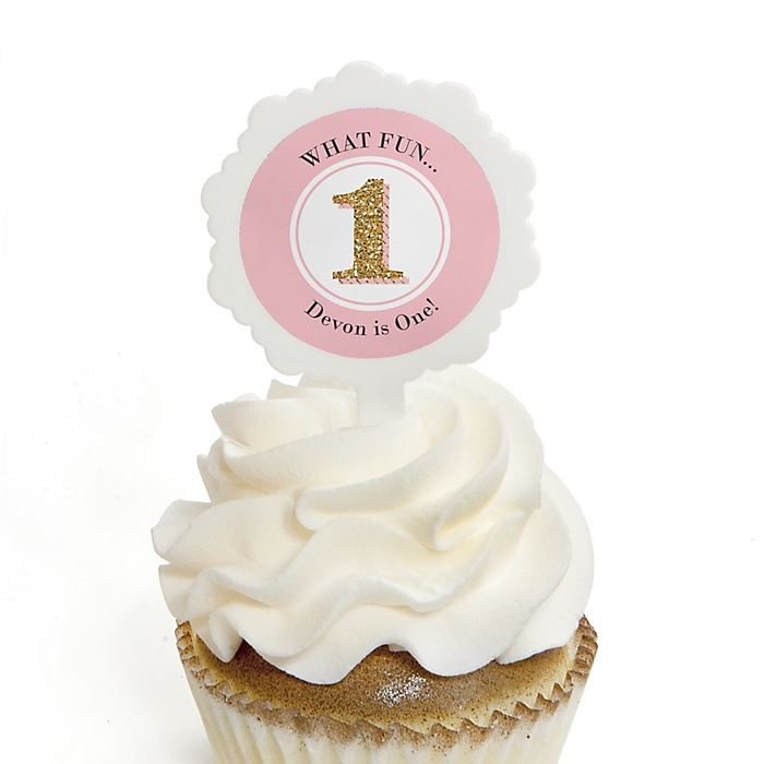 1st Birthday Girl - Fun to be One - Personalized First Birthday Party Cupcake Pick and Sticker Kit - 12 ct