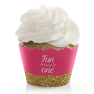 1st Birthday Girl - Fun to be One - First Birthday Decorations - Party Cupcake Wrappers - Set of 12
