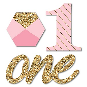 Fun to be One - 1st Birthday Girl - Shaped Party Paper Cut-Outs - 24 ct