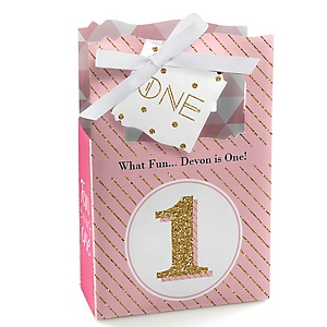 1st Birthday Girl - Fun to be One - Personalized First Birthday Party Favor Boxes - Set of 12