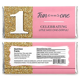1st Birthday Girl - Fun to be One -  Candy Bar Wrappers Birthday Party Favors - Set of 24