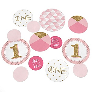 1st Birthday Girl - Fun to be One - First Birthday Party Giant Circle Confetti - First Birthday Party Decorations - Large Confetti 27 Count