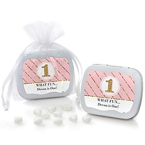 Fun to be One - 1st Birthday Girl - Personalized Birthday Party Mint Tin Favors
