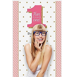 "Fun to be One - 1st Birthday Girl - Personalized Birthday Party Photo Booth Backdrops - 36"" x 60"""