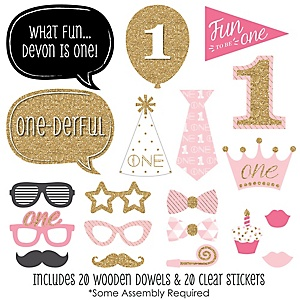 1st Birthday Girl - Fun to be One - First Birthday 20 Piece Photo Booth Props Kit