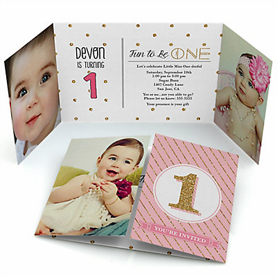 fun to be one - 1st birthday girl - personalized birthday party, Birthday invitations