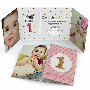 Fun to be One - 1st Birthday Girl - Personalized Birthday Party Photo Invitations
