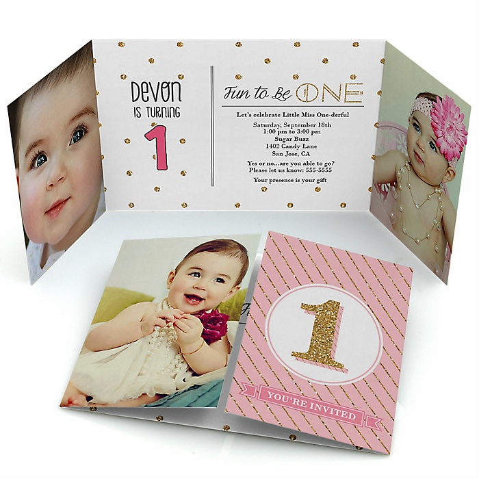1st Birthday Girl - Fun to be One - Personalized First Birthday Party Photo Invitations - Set of 12