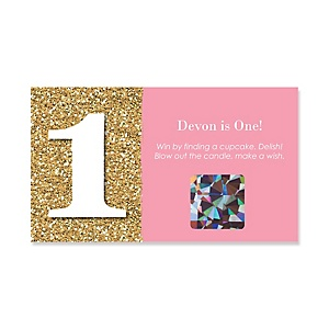 Fun to be One - 1st Birthday Girl - Personalized Birthday Party Game Scratch Off Cards - 22 ct