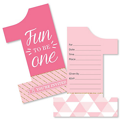 1st birthday girl fun to be one shaped fill in invitations 1st birthday girl fun to be one shaped fill in invitations first birthday party invitation cards with envelopes set of 12 bigdotofhappiness stopboris Choice Image