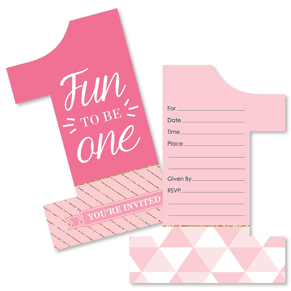 1st Birthday Girl Fun To Be One Shaped Fill In Invitations First Birthday Party Invitation Cards With Envelopes Set Of 12