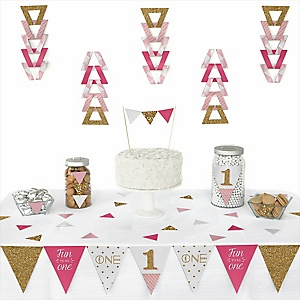 1st Birthday Girl - Fun to be One -  Triangle First Birthday Party Decoration Kit - 72 Piece