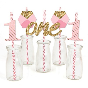 Fun to be One - 1st Birthday Girl - Paper Straw Decor - Birthday Party Striped Decorative Straws - Set of 24