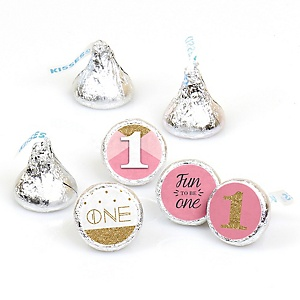 Fun to be One - 1st Birthday Girl - Round Candy Labels Birthday Party Favors - Fits Hershey's Kisses - 108 ct