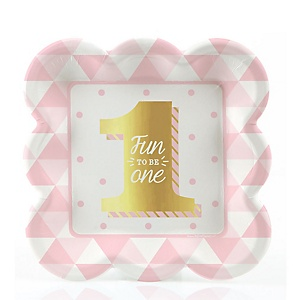 Fun to be One - 1st Birthday Girl with Gold Foil - Birthday Party Dessert Plates - 8 ct