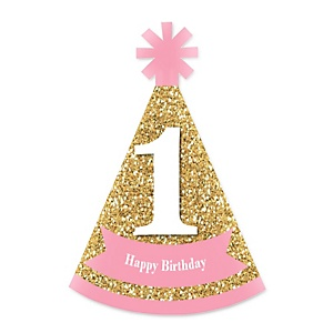 1st Birthday Girl - Fun to be One - Personalized Mini Cone First Birthday Party Hats - Small Little Party Hats - Set of 10