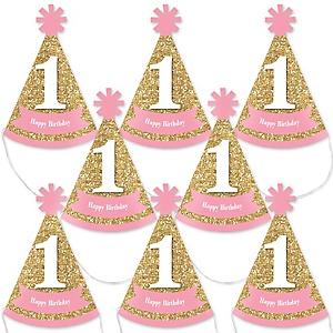 1st Birthday Girl - Fun to be One - Mini Cone First Birthday Party Hats - Small Little Party Hats - Set of 8