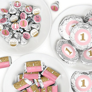 1st Birthday Girl - Fun to be One - Mini Candy Bar Wrappers, Round Candy Stickers and Circle Stickers - First Birthday Party Candy Favor Sticker Kit - 304 Pieces