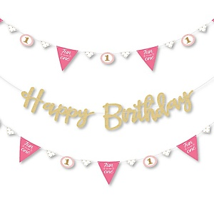 1st Birthday Girl - Fun to be One - First Birthday Party Letter Banner Decoration - 36 Banner Cutouts and No-Mess Real Gold Glitter Happy Birthday Banner Letters