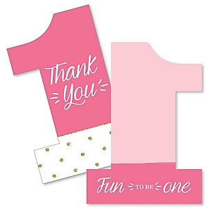 1st Birthday Girl - Fun to be One - Shaped Thank You Cards - First Birthday Party Thank You Note Cards with Envelopes - Set of 12