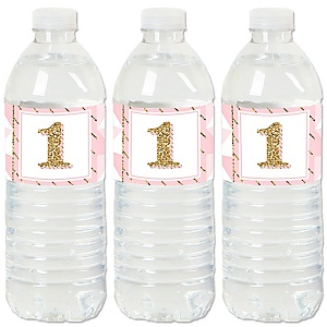 1st Birthday Girl - Fun to be One - First Birthday Party Water Bottle Sticker Labels - Set of 20