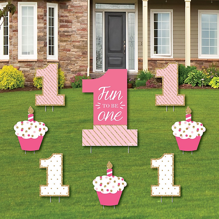 1st Birthday Girl - Fun to be One - Yard Sign & Outdoor Lawn Decorations - First Birthday Party Yard Signs - Set of 8