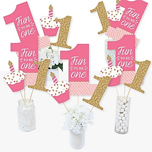 1st Birthday Girl - Fun to be One - First Birthday Party Centerpiece Sticks - Table Toppers - Set of 15