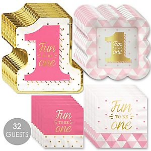 Fun to be One - 1st Birthday Girl with Gold Foil - Birthday Party Tableware Plates and Napkins - Bundle of 32