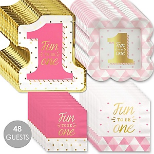 Fun to be One - 1st Birthday Girl with Gold Foil - Birthday Party Tableware Plates and Napkins - Bundle of 48