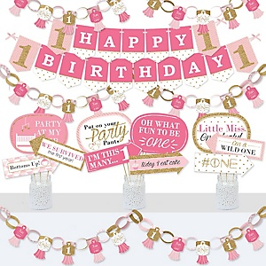1st Birthday Girl - Fun to be One - Banner and Photo Booth Decorations - First Birthday Party Supplies Kit - Doterrific Bundle