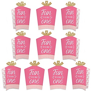 1st Birthday Girl - Fun to be One - Table Decorations - First Birthday Party Fold and Flare Centerpieces - 10 Count