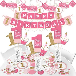 1st Birthday Girl - Fun to be One - First Birthday Party Supplies - Banner Decoration Kit - Fundle Bundle