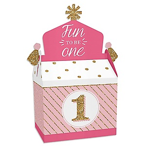1st Birthday Girl - Fun to be One - Treat Box Party Favors - First Birthday Party Goodie Gable Boxes - Set of 12