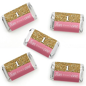 1st Birthday Girl - Fun to be One - Mini Candy Bar Wrapper Stickers - First Birthday Party Small Favors - 40 Count