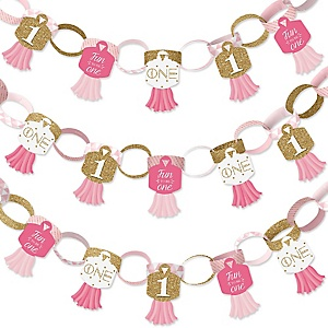 1st Birthday Girl - Fun to be One - 90 Chain Links and 30 Paper Tassels Decoration Kit - First Birthday Party Paper Chains Garland - 21 feet