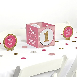 1st Birthday Girl - Fun to be One - First Birthday Party Centerpiece & Table Decoration Kit