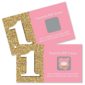 1st Birthday Girl - Fun to be One - First Birthday Party Game Scratch Off Cards - 22 ct