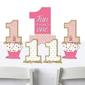 1st Birthday Girl - Fun to be One - First Birthday Party Centerpiece Table Decorations - Tabletop Standups - 7 Pieces