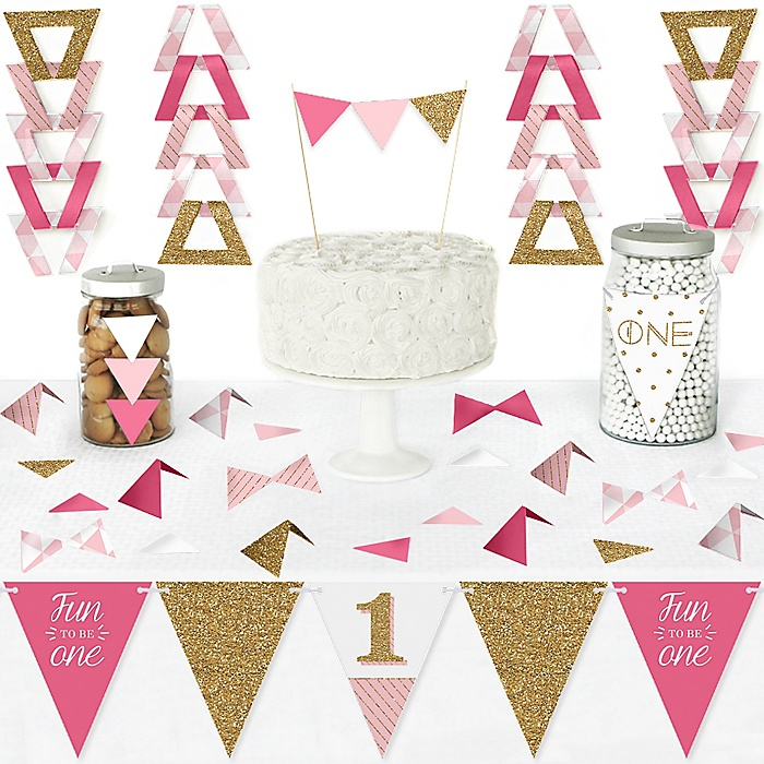 1st Birthday Girl - Fun to be One - DIY Pennant Banner Decorations - First Birthday Party Triangle Kit - 99 Pieces