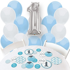 Fun to be One - 1st Birthday Boy - Confetti and Balloon Birthday Party Decorations - Combo Kit
