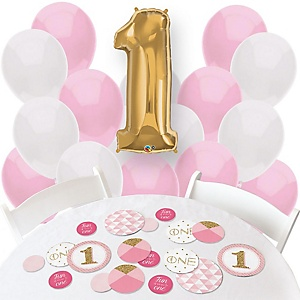1st Birthday Girl - Fun to be One - Confetti and Balloon First Birthday Party Decorations - Combo Kit