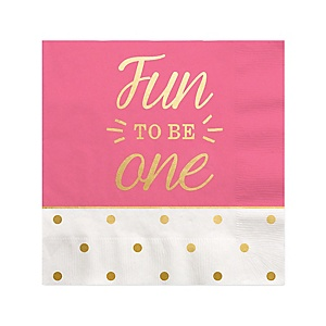 Fun to be One - 1st Birthday Girl with Gold Foil - Birthday Party Beverage Napkins - 16 ct