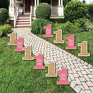 1st Birthday Girl - Fun to be One Lawn Decorations - Outdoor First Birthday Party Yard Decorations - 10 Piece