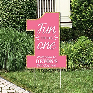 1st Birthday Girl - Fun to be One - Party Decorations - First Birthday Party Personalized Welcome Yard Sign