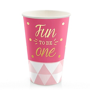 Fun to be One - 1st Birthday Girl with Gold Foil - Birthday Party Hot/Cold Cups - 8 ct