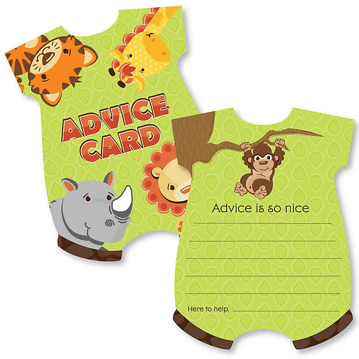 Funfari - Fun Safari Jungle - Baby Bodysuit Wish Card Baby Shower Activities - Shaped Advice Cards Game - Set of 20