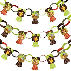 Funfari - Fun Safari Jungle - 90 Chain Links and 30 Paper Tassels Decoration Kit - Baby Shower or Birthday Party Paper Chains Garland - 21 feet