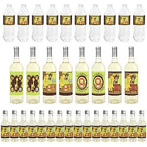 Funfari - Fun Safari Jungle - Mini Wine Bottle Labels, Wine Bottle Labels and Water Bottle Labels - Baby Shower or Birthday Party Decorations - Beverage Bar Kit - 34 Pieces