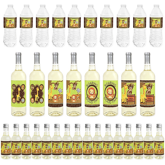 Funfari - Fun Safari Jungle - Mini Wine Bottle Labels, Wine Bottle Labels and Water Bottle Labels - Baby Shower or Birthday Party Decorations - Beverage Bar Kit - 34 Pieces